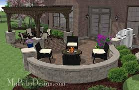Backyard Brick Patio Design With Grill Station Seating Wall And by Curvy Patio Design With Seat Wall And Pergola Downloadable Plan