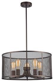 Industrial Pendant Light 5 Light Ceiling Pendant Rubbed Bronze Industrial Pendant