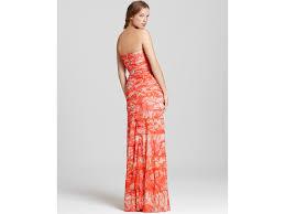 bcbgmaxazria strapless erika gown in orange lyst
