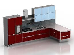 Kitchen Design 3d Modern Red Kitchen Design 3d Model 3dsmax 3ds Files Free Download