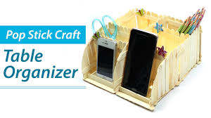 popsicle stick crafts diy desk organizer phone stand ice cream