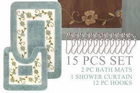 super soft floral bath mat 15pc set shower curtain hooks embroidery microfiber bath mat set blue whole set