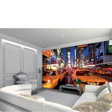wall art thehut com new york times square in bright lights and yellow cabs wall mural