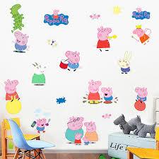 Peppa Pig Room Decor Cartoon Cute Pink Peppa Pig Wall Stickers Home Decor George Pig