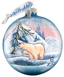 painted scenic glass ornament polar traditional