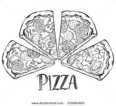 hand drawn vector illustration pizza types stock vector 500365435
