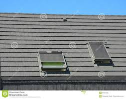 house skylights with blinds sun protection exterior stock photo