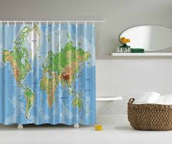 World Map Fabric Shower Curtain Memory Home World Map Printed Font Shower Curtain Buy