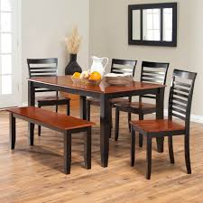 6piece turino dining set round dining table with bench acme