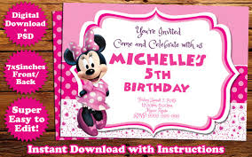 minnie mouse birthday invitation template by templatemansion on