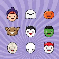 cute kawaii halloween icons set funny monster faces on colorful