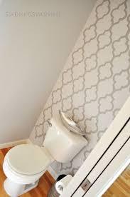 bathroom stencil ideas half bath accent wall grey walls powder room