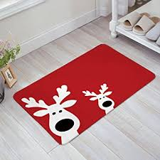 Outdoor Front Door Rugs Peeking Reindeer Home Doormat Non Slip