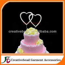 silver plating monogram heart shape baptism cake toppers for sale