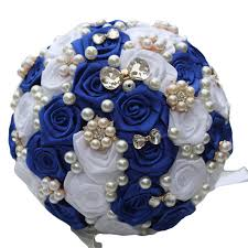 wedding flowers blue and white brooch royal blue white stunning bridal bridesmaid bouquets satin