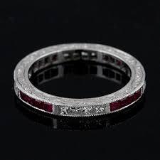 art deco style platinum diamond ruby wedding eternity band ring