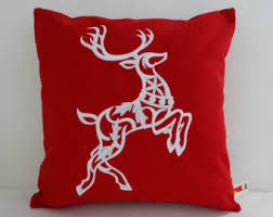 Outdoor Decorative Christmas Pillows by Reindeer Pillow Etsy