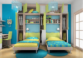 Red And Blue Boys Bedroom - amazing blue children bedroom design with double beds and