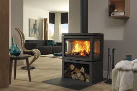 wood burning fireplace contemporary closed hearth 3 sided