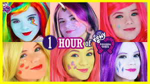 1 hour my pony mane 6 makeup tutorials rainbow dash pinkie