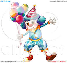 balloons clown clipart of a circus clown holding party balloons royalty free