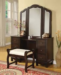 Oak Makeup Vanity Table 3 Pieces Annapolis Cherry Wood Vanity Set With Bench Mirror
