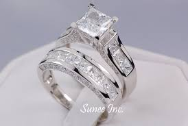wedding ring sets for women ct princess cut wedding ring set engagement ring wedding band