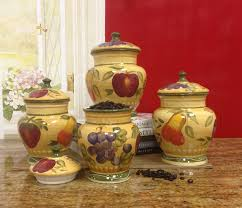 Ceramic Canisters Sets For The Kitchen Amazon Com European Style Tuscan Fruit Grape Kitchen 4 Pc