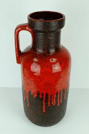 vintage drip glaze l large vintage vase with red drip glaze from carstens for sale at pamono