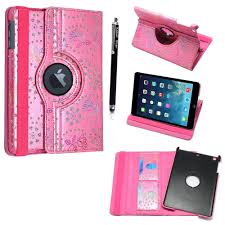 for apple ipad mini stylish pink crystal diamond bling leather