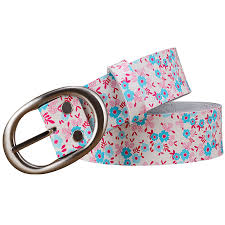 floral belt 2018 fashion genuine leather belts for women luxury printing blue