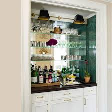Mirrored Bar Cabinet Green Copper Crystals Line Bar Shelving Walls In