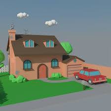Modern House Free Download 3d Asset Low Poly House And Car Cgtrader