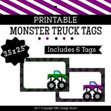 printable monster name tags printable monster trucks labels name tags classroom decoration