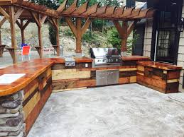 Rustic Cabinets Grill Concrete Countertop Mixed Wood Rustic Cabinets Stamped