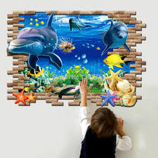 3d Wallpaper Home Decor 3d Fish Seabed Wall Sticker Nursery Kids Room Wall Decals Baby