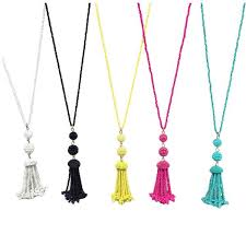 tassel pendant necklace images Seed bead tassel pendant necklace with pom pom luscone jpg