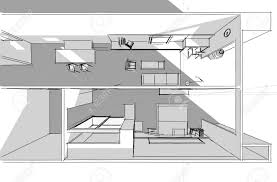 architectural drawing interior project by hand sketch style