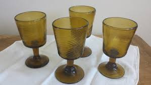 vintage mexican hand blown wine glasses w swirl set of four