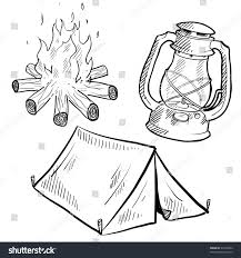 doodle style camping equipment illustration vector stock vector