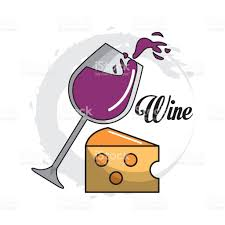 cartoon wine and cheese glass splashing wine with cheese icon stock vector art 652819498