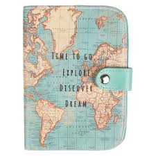 World Time Map Vintage Map Time To Go Passport Holder