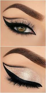 bold grapic cat eye outline half cut crease in black gold glitter makeup