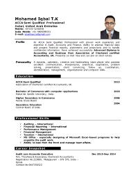 Resume Confidential Information Cv Iqbal Acca