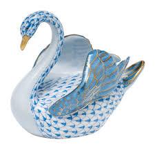 herend swan porcelain figurine blue fishnet at herendstore