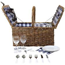 picnic basket set for 2 lidded wicker picnic basket set charles bentley
