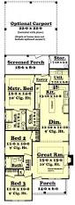 House Plans With Carport Narrow Craftsman Home Plan 3 Bedrooms 2 Baths Plan 142 1041