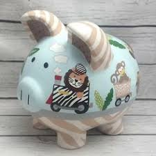 Personalized Silver Piggy Bank Personalized Piggy Bank Artisan Hand Painted Ceramic Piggy Bank