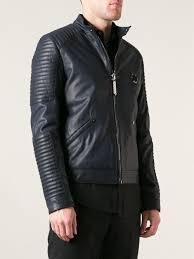 blue motorbike jacket philipp plein ribbed biker jacket in blue for men lyst