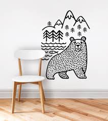 large black bears fish mountain wall sticker art decals diy home